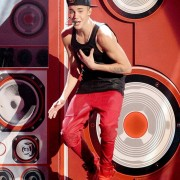 Justin Bieber in front of TRIO printed and CNC routed stereo stage