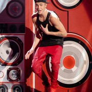 "Justin Bieber on stage at the AMA's in front of TRIO printed and CNC routed ""stereo speakers"""