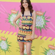 Victoria Justice in front of TRIO printed step & repeat at the Kid's Choice Awards 2013