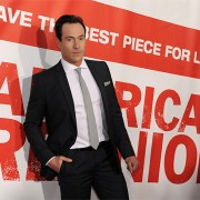 Chris Klein at the American Reunion premiere in front of TRIO printed graphics