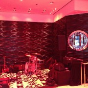 trio, printed graphics, printed carpet, stage, beck's, beer, sapphire, party, launch, event, chicago, metal sculpture