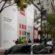TRIO printed construction barricade at UNIQLO NY on 34thSt