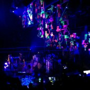 Coldplay at Austin City Limits - New Years Eve 2012 - TRIO artwork hanging from the rafters