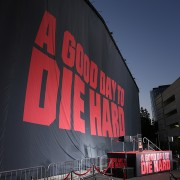 Twentieth Century Fox uses TRIO 140' x 40' printed drop to hide the mural of Bruce Willis for the 25th anniversary of Die Hard