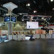 TRIO sets up the Disney booth at E3