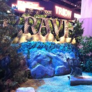 TRIO sculpted and hand-painted 'Brave' sign in the Disney booth
