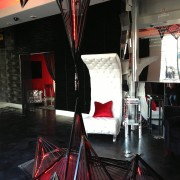 TRIO manufactured sculpture along with 3D paneled walls and furniture at Beck's Sapphire launch event in Los Angeles