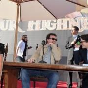 Justin Theroux, Danny McBride, and James Franco in front of TRIO's backdrop in Santa Barbara