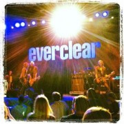 TRIO's hand-painted backdrop on tour with Everclear