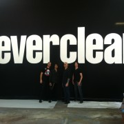 Everclear visiting TRIO's studio to check out their hand-painted backdrop