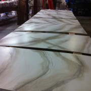 Painting the faux marble floor for The Voice