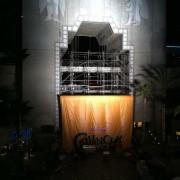 Raising the TRIO printed backdrop at Hollywood & Highland