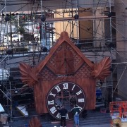TRIO installing the cuckoo clock at Hollywood & Highland
