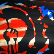 TRIO hand-painted backdrop for Rise Against