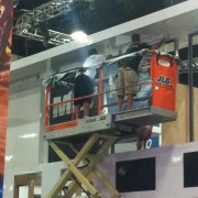 TRIO installing manufactured booth for Sony at Comic Con