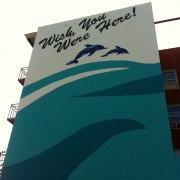 TRIO hand-painted wall for the City of San Diego - Wish You Were Here!