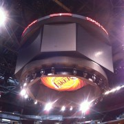 TRIO printed graphics installed on scoreboard at Staples Center, Los Angeles - LA Lakers