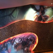TRIO printed graphics installed in the foyer of Club Ruby Skye in San Francisco with Riot Games