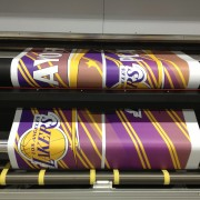 Los Angeles Lakers printed graphics for Staples Center installation - on TRIO printers