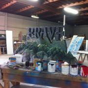 """Hand-sculpted and painted sign for """"Brave"""" area - in process at TRIO"""