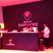 trio, printed graphics, printed carpet, stage, beck's, beer, sapphire, party, launch, event, new york, metal sculpture