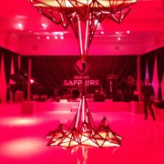 TRIO installing graphics, metal sculpture, and finishing touches at Beck's Sapphire launch event in New York
