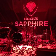 trio, printed graphics, printed carpet, stage, beck's, beer, sapphire, party, launch, event, new york