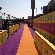 TRIO's printed barricades and graphic walls getting installed at the Kid's Choice Awards