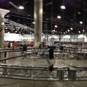 TRIO installing the truss for the Disney booth