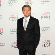 Leonardo DiCaprio in front of TRIO printed step & repeat at the J Edgar premiere