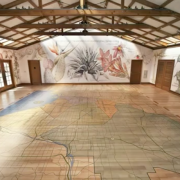 Rancho Los Alamitos - Hand painted and printed graphis, hand painted floor