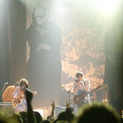 Okkervil River on tour with hand-painted TRIO backdrop