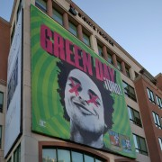 TRIO printed green day scrim on the pinnacle building in burbank warner records