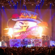Poison on stage with TRIO hand-painted backdrop
