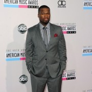50 Cent in front of TRIO printed step and repeat - 40th Annual AMAs
