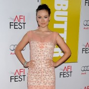 TRIO printed step-and-repeat graphics at AFI Film Festival - Olivia Wilde