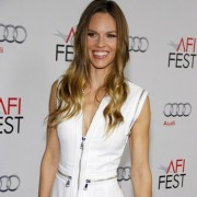 TRIO printed step-and-repeat graphics at AFI Film Festival - Hilary Swank