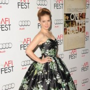 Amy Adams in front of TRIO printed step and repeat at 'On the Road' premiere