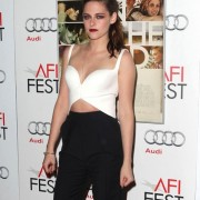 Kristen Stewart in front of TRIO printed step and repeat at 'On the Road' premiere