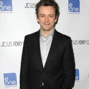 Michael Sheen at the Jesus Henry Christ premiere in front of TRIO printed step & repeat