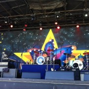 The hand-painted Ringo Starr backdrop on stage