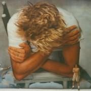 TRIO hand painted portrait of rod stewart pre las vegas