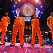 Lakers before game at the Staples Center under print by TRIO