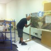 Painting a sample backdrop Cirque Du Soleil, Iris