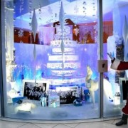 Holiday Window display at the Paley Media Center with Warner Bros, TRIO routed tree, sculpted fireplace, printed backdrop