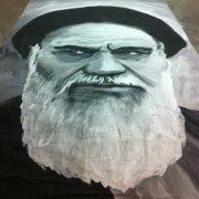 "A Hand Painted 16'6"" x 26'4"" Portrait of the Ayatollah Khomeini for Argo by TRIO"