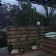 On the set of Franklin & Bash with TRIO's backlit backdrop