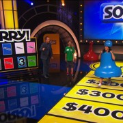 TRIO constructed 'Sorry' game board, printed floor graphics, and sculpted 'Sorry' game piece costumes - Family Game Night