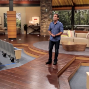 Behind the scenes filming with Jeff Probst and the TRIO printed backdrops