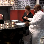 TRIO hand-painted faux marble floor, custom printed wall covering, CNC-routed wainscot - The Voice, Season 3